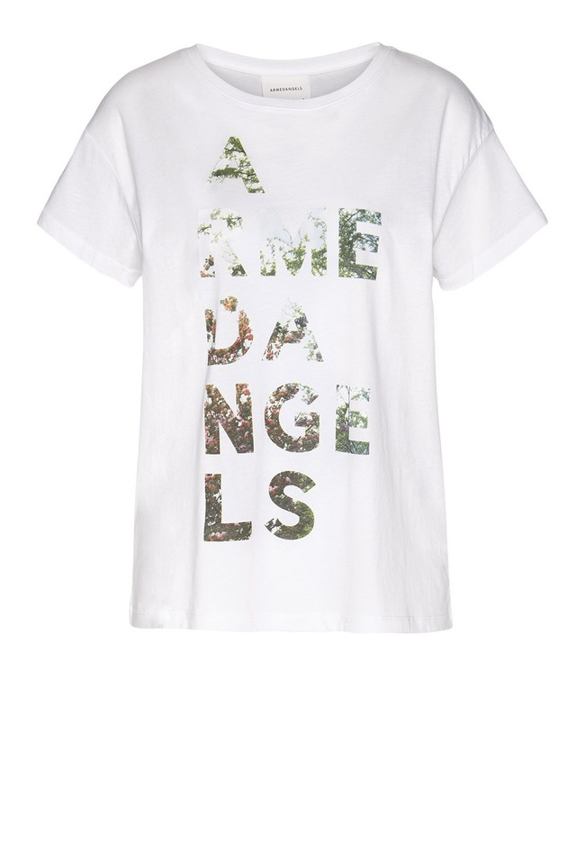 T-shirt imprimé blanc en coton bio - nelaa - Armedangels num 4