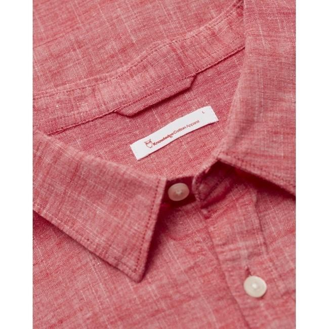 Chemise à manches courtes rouge en lin et coton bio - larch - Knowledge Cotton Apparel num 1