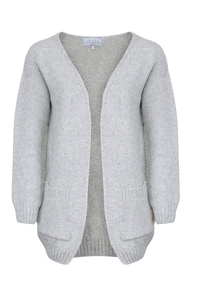 Gilet iris - laine gris clair - Maison Izard