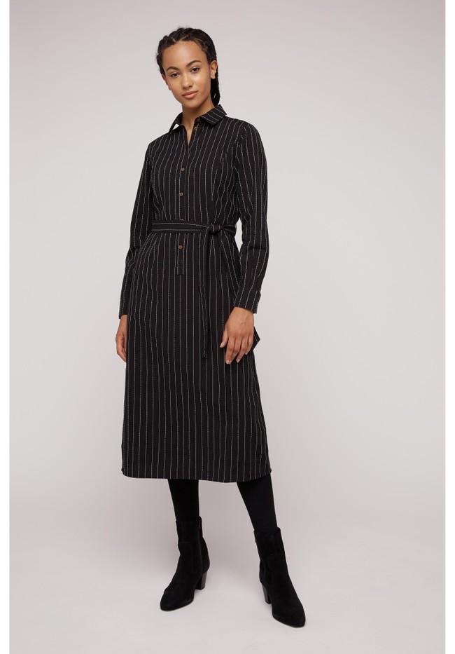 Robe chemise rayée noire en coton bio - isadora - People Tree num 4