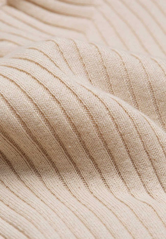 Sous-pull côtelé beige en coton bio - alaani - Armedangels num 2