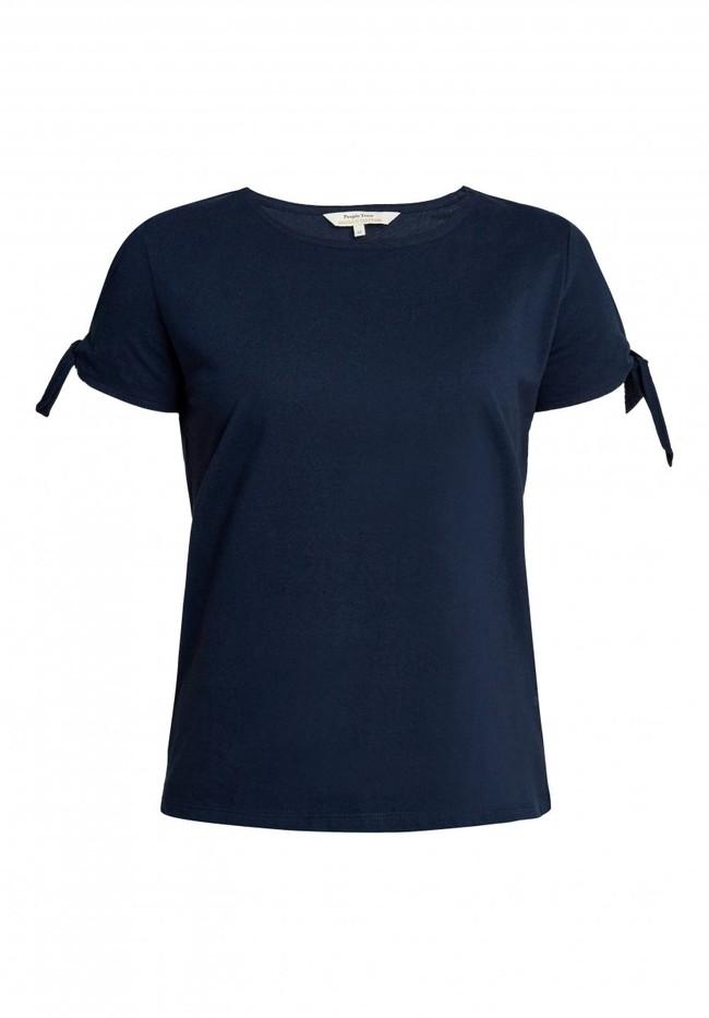 T-shirt manches avec nœuds bleu marine en coton bio - emery - People Tree num 4