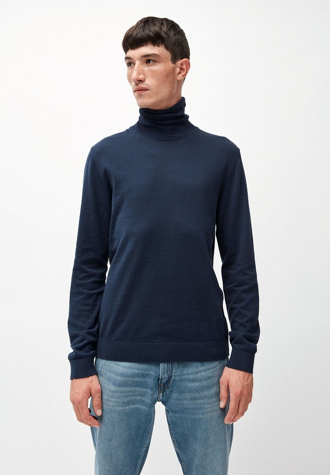 Pull col roulé bleu en coton bio - glaan - Armedangels
