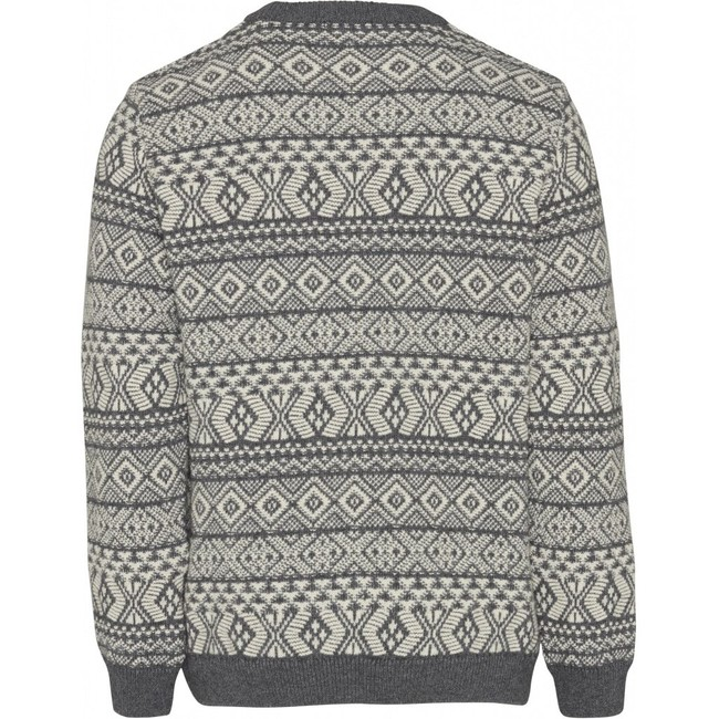 Pull jacquard gris en coton bio et laine - Knowledge Cotton Apparel num 1