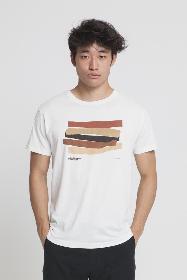 T-shirt imprimé blanc en coton bio - united humans - Thinking Mu