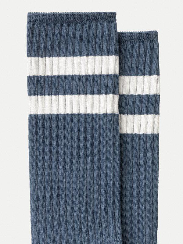 Chaussettes hautes bleues en coton bio - amundsson sport - Nudie Jeans num 1