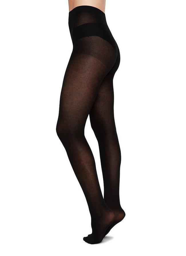 Collants semi-opaques noirs en coton bio et matière recyclée - stina - Swedish Stockings