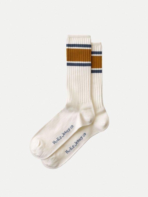 Chaussettes hautes blanches bande bicolore en coton bio - amundsson sport - Nudie Jeans