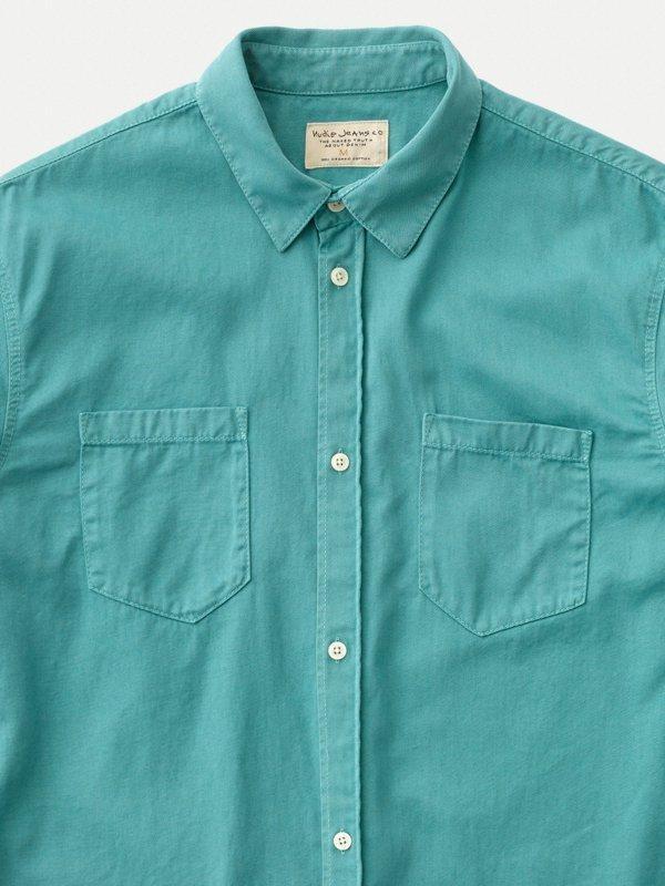 Chemise turquoise en coton bio - calle - Nudie Jeans num 4