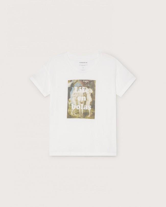 T-shirt imprimé blanc en coton bio - life en bolas - Thinking Mu num 4