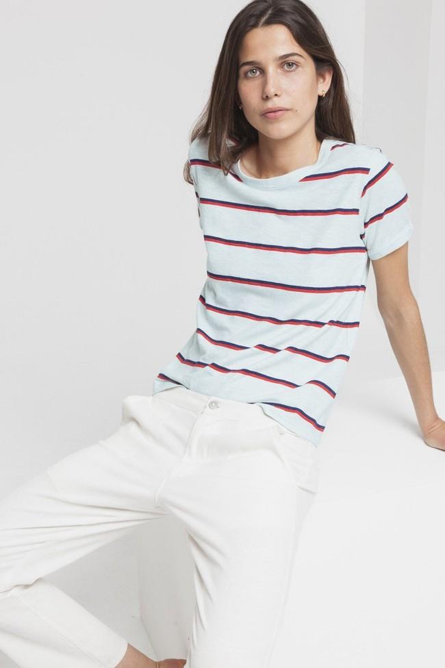 T-shirt rayé bleu clair en chanvre et coton bio - retro - Thinking Mu num 2