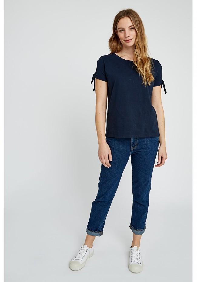 T-shirt manches avec nœuds bleu marine en coton bio - emery - People Tree num 3