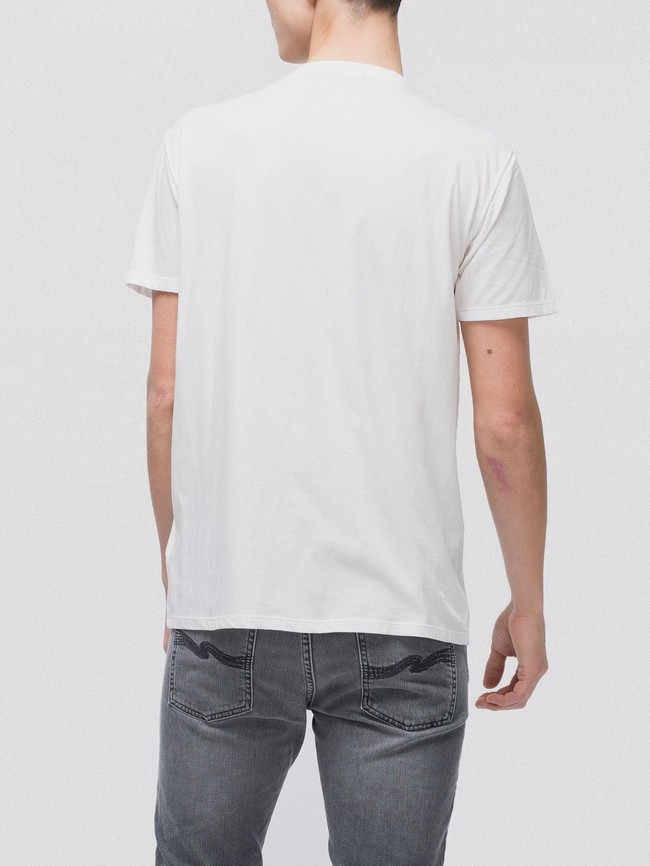T-shirt imprimé blanc en coton bio - anders facts not stories - Nudie Jeans num 1