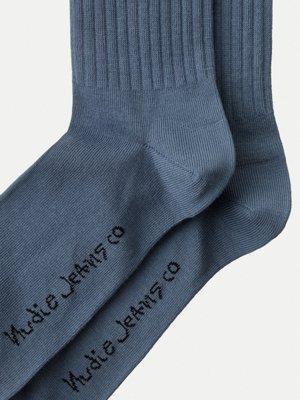 Chaussettes hautes bleues en coton bio - amundsson sport - Nudie Jeans num 2