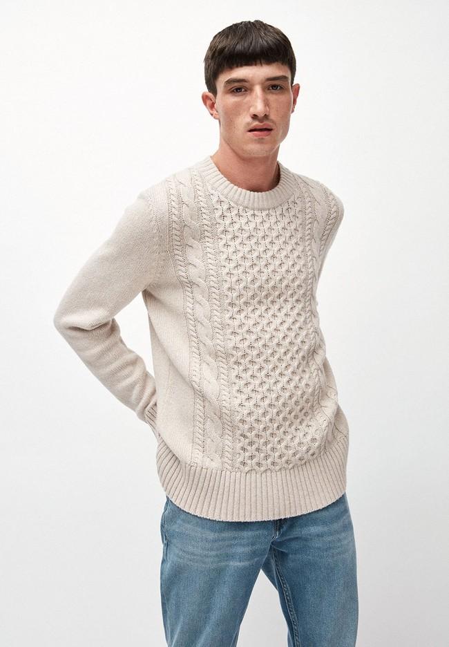 Pull écru en coton et laine bio - caabo - Armedangels
