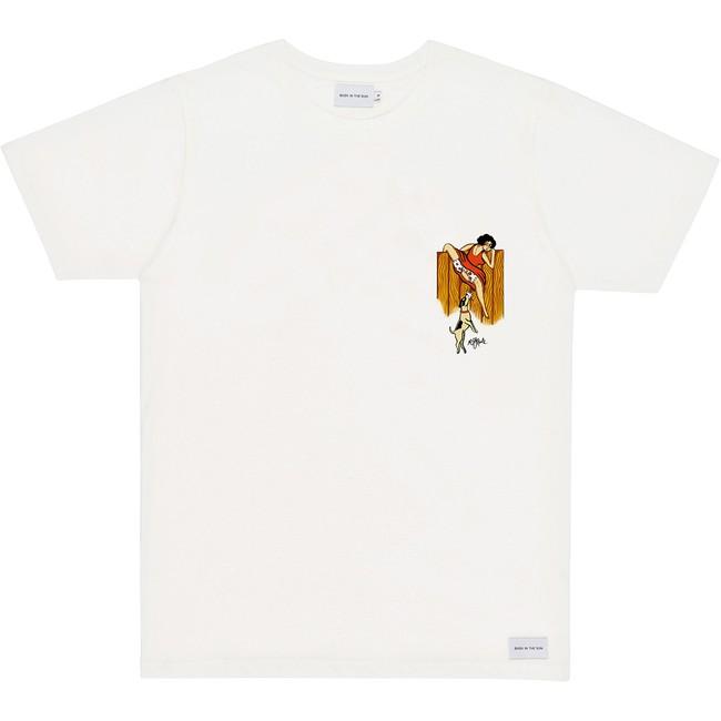T-shirt en coton bio natural fence pocket - Bask in the Sun
