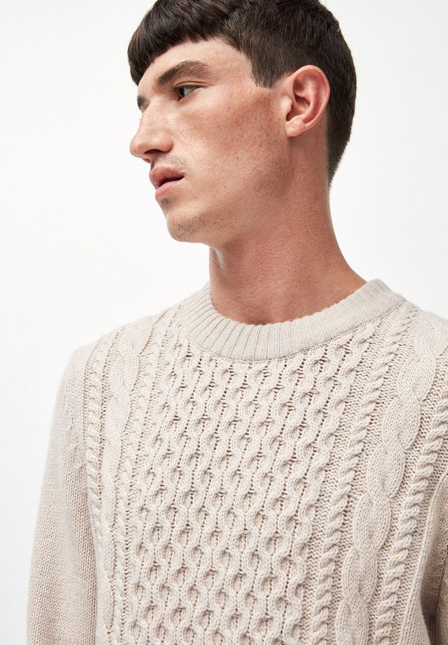 Pull écru en coton et laine bio - caabo - Armedangels num 3