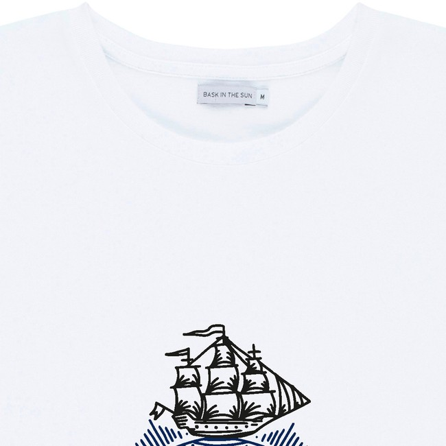 T-shirt en coton bio white traveller - Bask in the Sun num 1