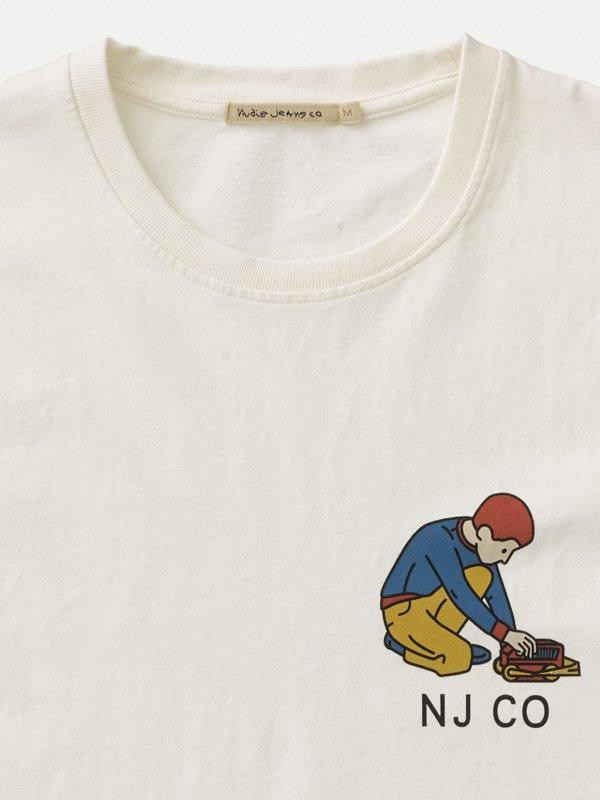 T-shirt blanc avec logo - roy multi logo boy - Nudie Jeans num 4