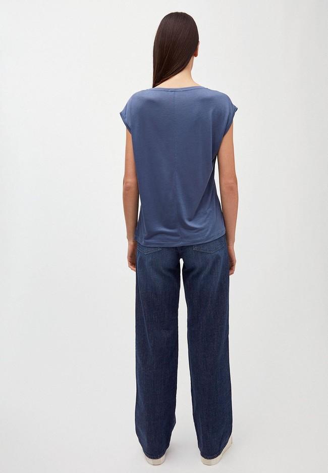 T-shirt bleu indigo en tencel - jilaa - Armedangels num 1