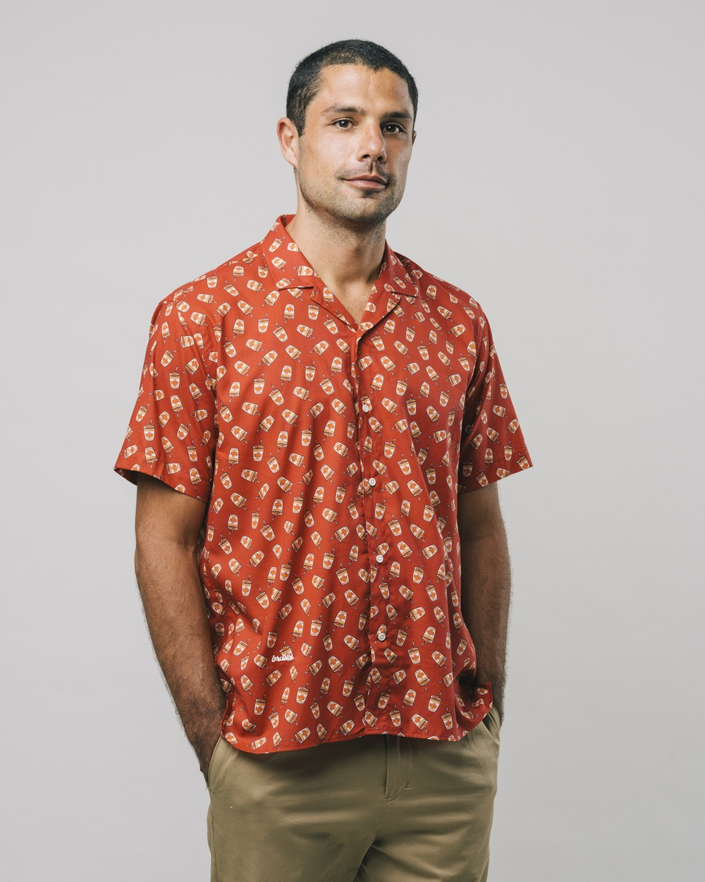 Curry to go printed shirt - Brava Fabrics