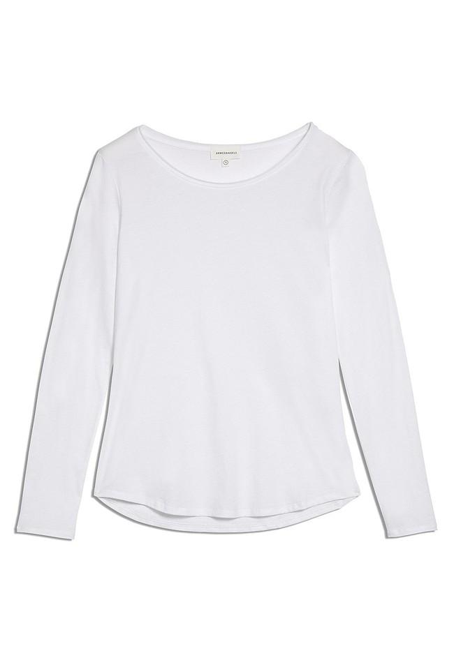 T-shirt manches longues blanc en coton bio - rojaa - Armedangels num 4