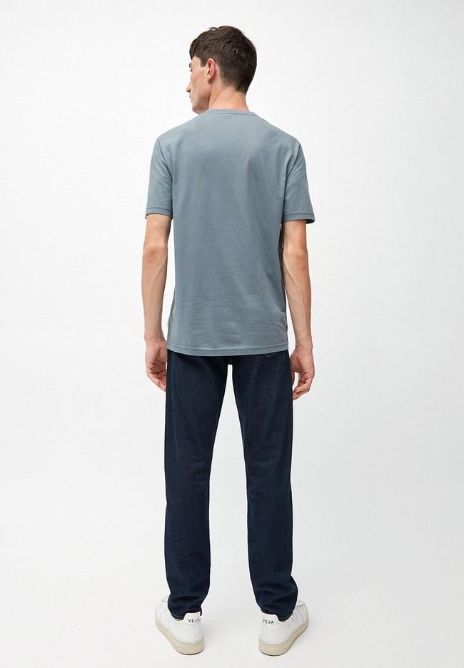 T-shirt bleu en coton bio - jaames - Armedangels num 2