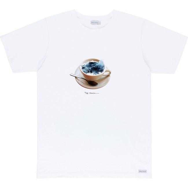 T-shirt en coton bio white cafe sale - Bask in the Sun