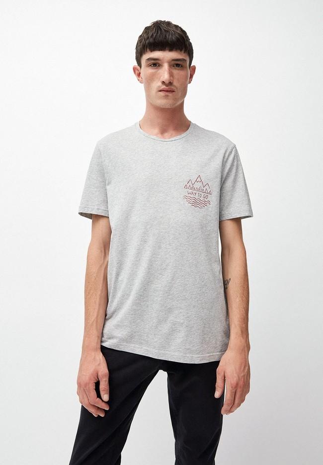 T-shirt gris en coton bio - jaames way to go - Armedangels