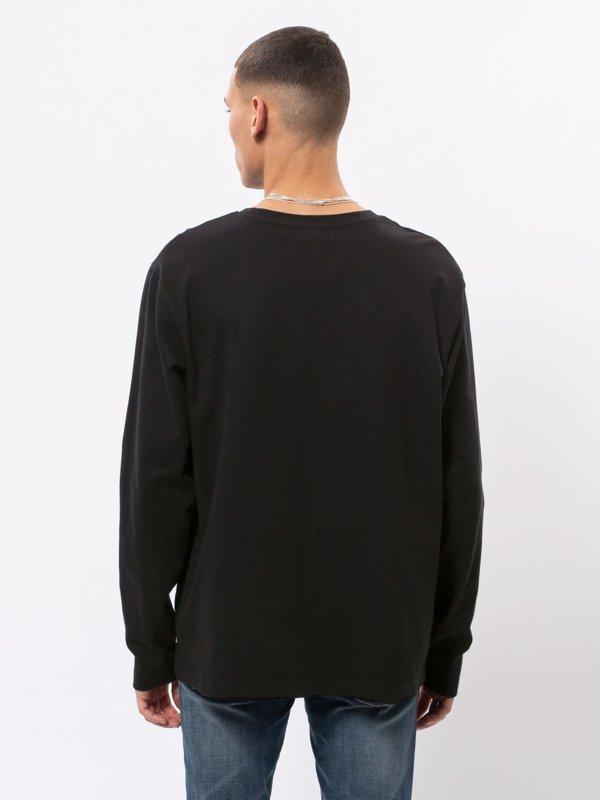 T-shirt manches longues à poche noir en coton bio - rudi - Nudie Jeans num 2