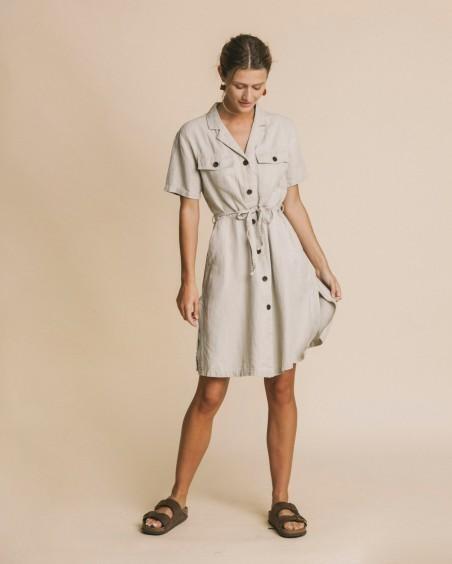 Robe beige en chanvre, tencel et coton bio - karen - Thinking Mu