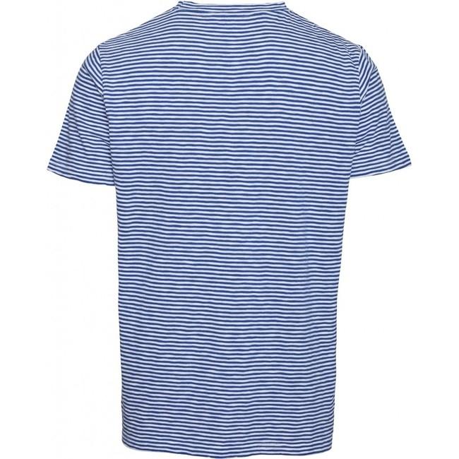 T-shirt rayé bleu et blanc en coton bio - alder - Knowledge Cotton Apparel num 1