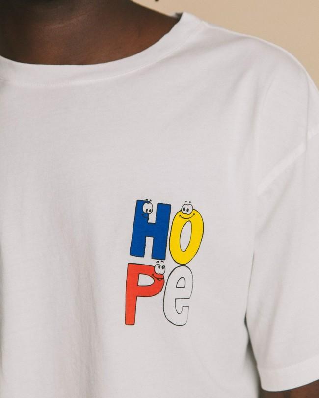 T-shirt blanc imprimé en coton bio - hope - Thinking Mu num 1