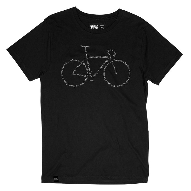 T-shirt noir motif vélo - text bike - Dedicated num 1