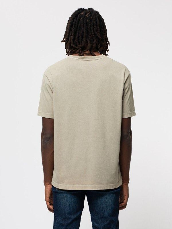 T-shirt ample taupe logo blanc en coton bio - uno njco circle - Nudie Jeans num 2