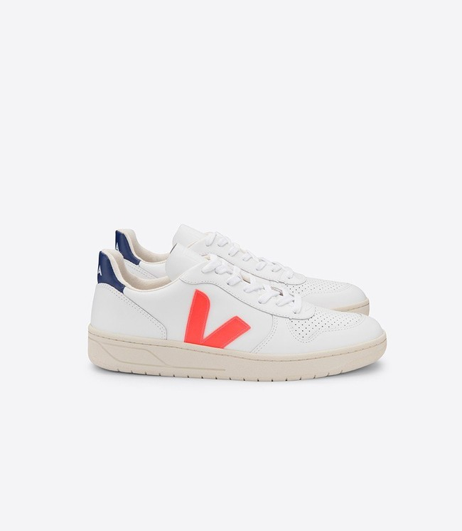 Baskets v-10 extra white orange cobalt - Veja