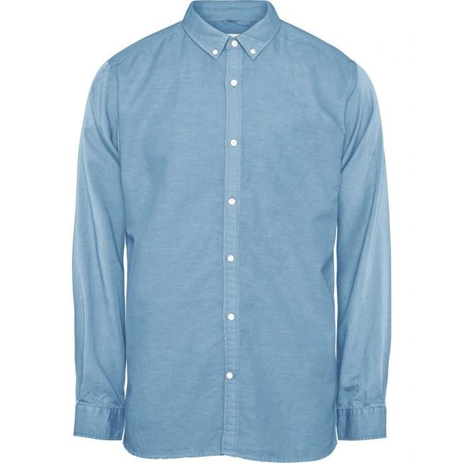 Chemise unie bleu clair en coton et lin bio - Knowledge Cotton Apparel