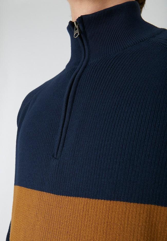 Sweat col zippé bicolore en coton bio - jaanko - Armedangels num 2