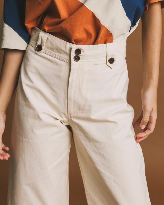Pantalon pattes d'éléphant crème en coton bio - sand - Thinking Mu num 3
