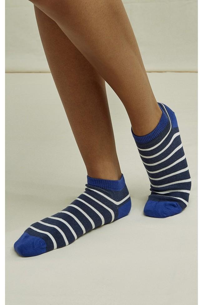 Chaussettes basses bleues rayées en coton bio - People Tree num 2