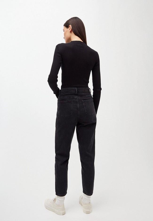 Sous-pull côtelé noir en coton bio - alaani - Armedangels num 2