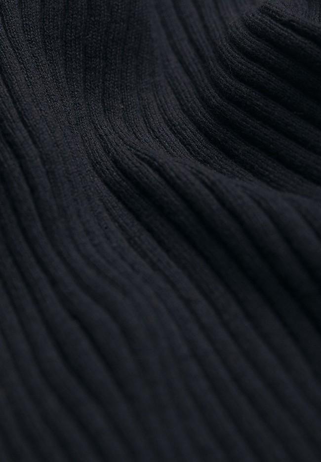 Sous-pull côtelé noir en coton bio - alaani - Armedangels num 5