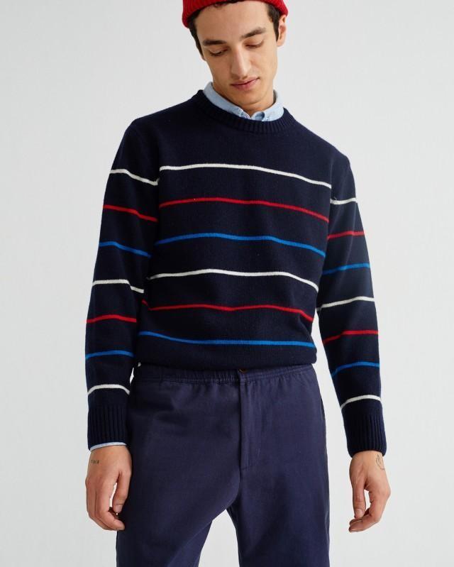 Pantalon ample marine en coton bio - travel - Thinking Mu num 2