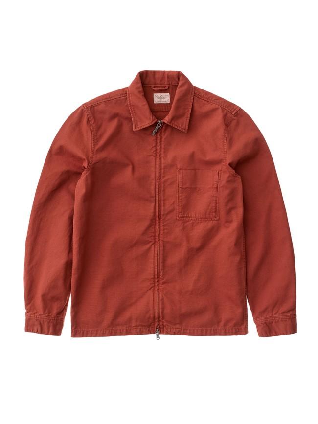 Veste zipée rouge en coton bio - sten zip - Nudie Jeans num 4