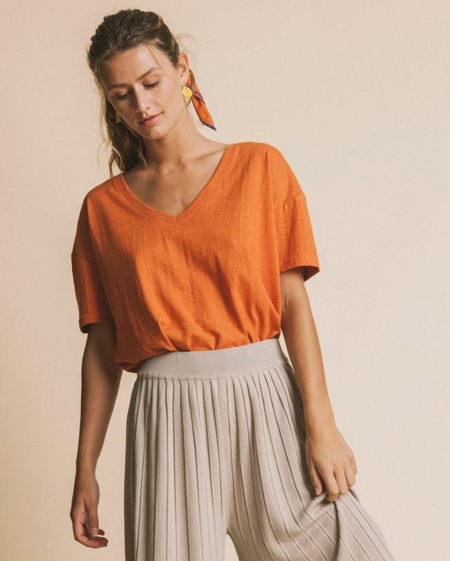 T-shirt col v terracotta en chanvre et coton bio - chloé - Thinking Mu