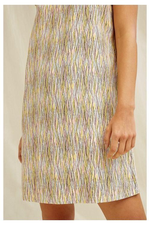 Robe courte motifs jaune et rose en tencel - rohina - People Tree num 3
