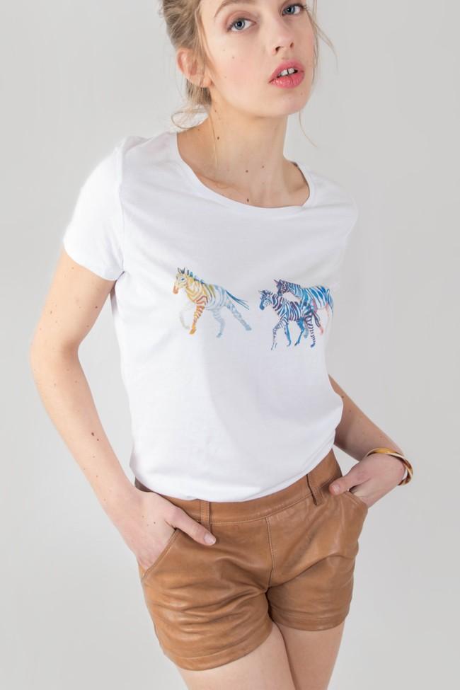 T-shirt motif zèbre - Bleu Tango