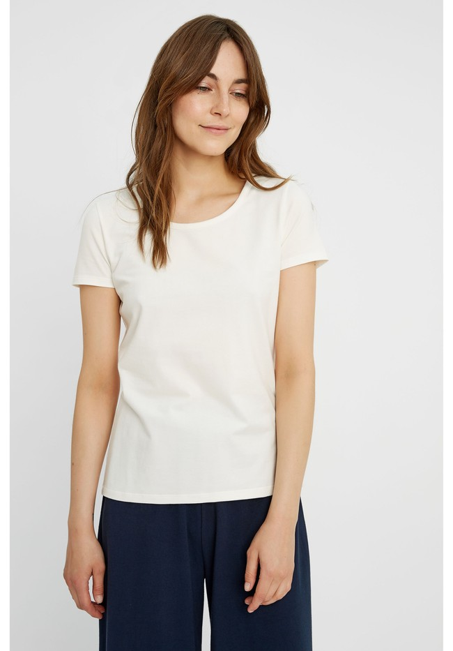T shirt col rond blanc en coton bio gaia People Tree