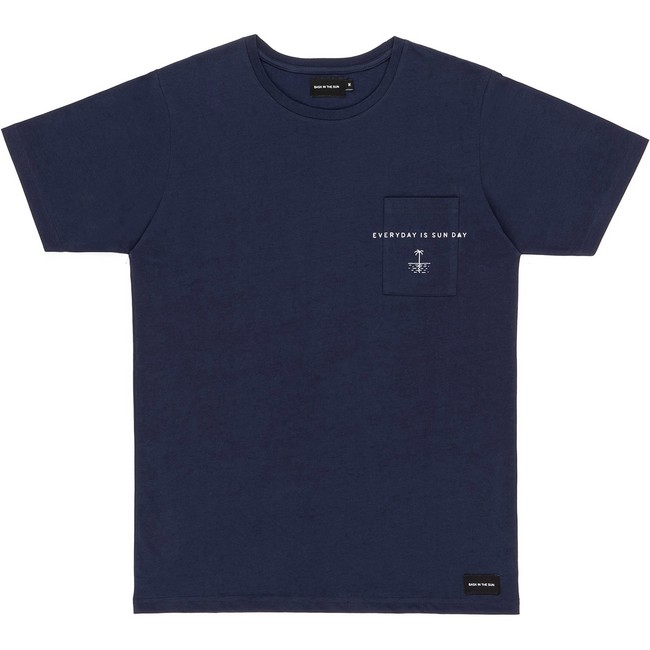 T-shirt en coton bio navy sun day - Bask in the Sun