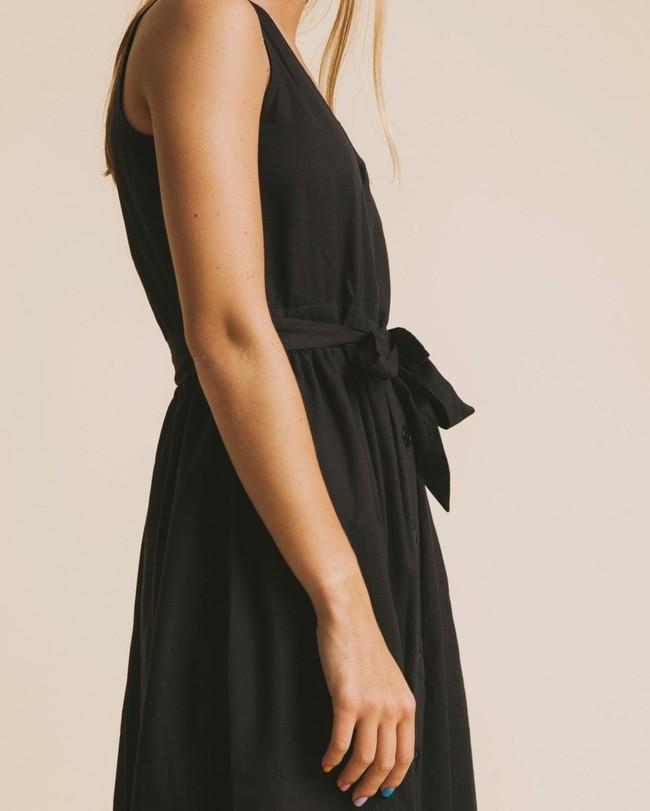 Robe midi noire en coton bio - black jolie - Thinking Mu num 1